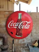 Coca Cola 4and039 Vintage Button Metal Advertising Coke Sign Red Org Paint