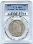 1834 50c Xf 40 Pcgs-o-115-small Dateandsmall Letters-capped Bust Halve//