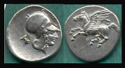 Corinth 350-330 Bc Stater Xf-very Fine Style.... Obv Athena Facing Right With