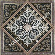 48 Black Marble Dining Table Top Mosaic Inlay Antique Garden Decoratives C926