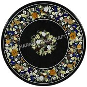30 Black Marble Top Coffee Table Floral Collectible Marquetry Inlay Decor C593