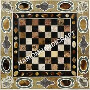 24 Marble Coffee Table Top Chess Multi Mosaic Precious Inlay Decoratives C603