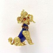 18k Gold 750 Italy 3d French Poodle Dog Enamel Brooch Pin 7 Grams