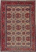 8and039x11and039 Antique Ivory Pink Coral Heriz Wool Oriental Area Rug Geometric