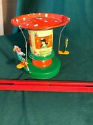 W. Germany 3-elf Mechanical Merry-go-round. Turns On Levered Spring, Works