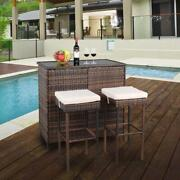 3 Pcs Rattan Wicker Bar Set Patio Outdoor Table And 2 Stools Furniture Brown