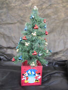 Disney 16 Inch Mickey Mouse Lights Ornaments Decorated Christmas Desk Tree