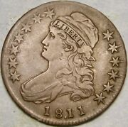 1811/0 Cap Bust Lettered Edge Silver Half Dollar Scarce Very Appealing Over Date