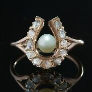 Victorian Natural Pearl And Diamond Horseshoe Lucky Ring