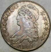 1807 50/20c. Capped Bust Letterd Edge Silver Half Dollar Appealing Toning Scarce