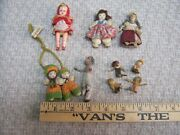 Lot Of 10 Vintage Miniature Dolls And Chair Japan Yarn Pipe Cleaners Cloth Plastic