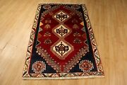 Estate 4x5 Circa 1970 Amazing Museum Vegetable Dye Handmade Knotted Rug 583397
