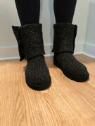 Women's, Ugg, Boots, Black Knit With Gold Accents, Size 7, Near Perfect Conditio