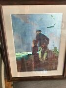 Norman Rockwell Painting Print 1927framed To Sea Old Man Boy Dog Sailing Ship