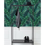 Tropical Palm Leaves Removable Wallpaper Green And Gray Wall Mural Reusable