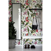 Tropical Flowers Removable   Garden Floral Mural   Seamless Pattern Wall Mural