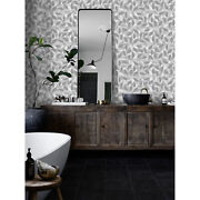 Gray Leaves Removable Wallpaper Gray And White Wall Mural Peel And Stick