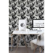 Black Exotic Monstera Removable | Watercolor Leaves | Repositionable Wall Mural