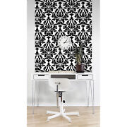 Black Colored Floral Arabesque Self-adhesive Black And White Wall Mural Design