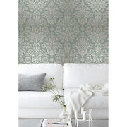 Damask Floral Removable Wallpaper Green And Gray Wall Mural Photo Mural