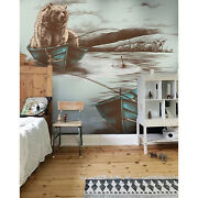 Bear In Boat With Fishing Removable Wallpaper Brown And Blue Wall Mural