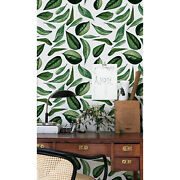 Green Leaves Painted Leaves From The Garden Pattern Self Adhesive Wall Mural