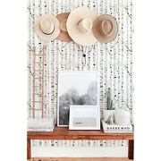 Black White Wood Removable Birch Tree Wall Mural Reusable Self Adhesive