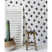 Cactus Removable Wallpaper White Wall Mural Reusable Self Adhesive Peel And Stick