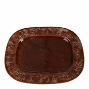 Treacle Glazed Pottery Hunting Scene Serving Dish 19th C.