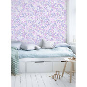 Floral Non-woven Wallpaper Pink And Blue Home Wall Mural Wallcover Roll