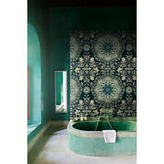Damask Non-woven Wallpaper Green And White Home Wall Mural Wallcover Roll