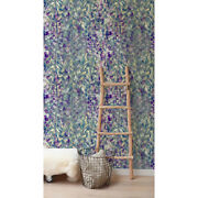 Non-woven Wallpaper Imprints Herbs | Nature Violet Exotic Leaves | Wallcover