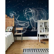 Bears On The Background Of Stars Non-woven Wallpaper White And Blue Wall Mural
