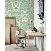 Damask Non-woven Wallpaper Green And White Wall Mural Large Home Decor