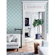 Damask Non-woven Wallpaper Green And Gray Home Wall Mural Wall Covering