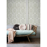 Vector Floral Damask Non-woven Wallpaper Green And Gray Wall Mural Traditional