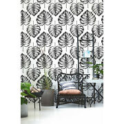 Non-woven Wallpaper Monstera Leaf Tropical Floral Black And White Traditional