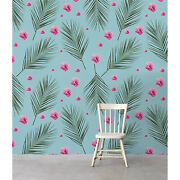 Non-woven Wallpaper Hawaii Flowers Floral Watercolor Decor Wallcover Roll