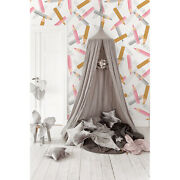 Pencils Pattern Pastel Girly Non-woven Wallpaper Home Wall Mural Decal