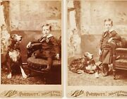 Rare Real 1880s 2 Boston Ma Cabinet Cards Of Lowell Clapp With Dog G-son Of Otis