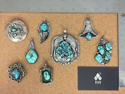 Vintage Native Turquoise Sterling Silver Pendant Lot 1 - Individually On Req.