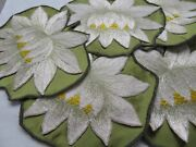 Set 6 Rare Large Society Silk Water Lily Flower And Pad Cocktail Napkins Cleaned