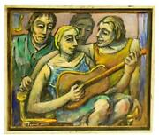 Samuel Heller American 1902-1997 Oil On Canvas Guitar Playing 30 X 34