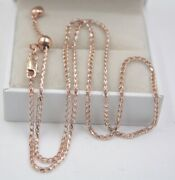 Pure 18k Rose Gold Chain Shine Single Wheat Link Womanand039s Necklace / Adjustable