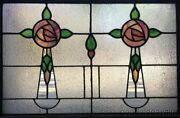 Antique 2 1920's Chicago Stained Leaded Glass Windows 32 By 23 Transom