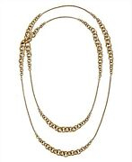 New Gold Brass Tone Multi Size Chain Link Long Necklace Mkj6042
