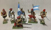 Lot Of 6 Russian Type Hand Painted Lead Miniatures 54mm 1/32 Toy Soldier Figures