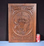 Antique French Panel In Solid Oak Wood Highly Carved Details With Basket