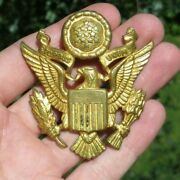 Ww2 Us Army Military Officer Cap Hat Badge - Luxenberg New York
