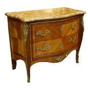 Early To Mid 20th Century French Louis Xvi Style Inlaid Marble Top Commode